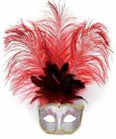 Carnavals oog masker rode veren