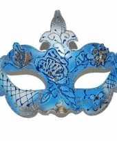 Gemaskerd bal blauw gouden oogmasker