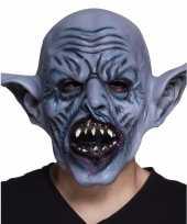 Halloween latex blauw ork monster hoofdmasker voor volwassenen
