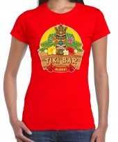Hawaii feest t-shirt shirt tiki bar aloha rood voor dames masker