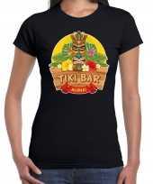 Hawaii feest t-shirt shirt tiki bar aloha zwart voor dames masker
