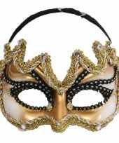 Heren carnavalsmasker goud met zwart
