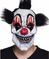 Latex killer clown masker met zwart haar