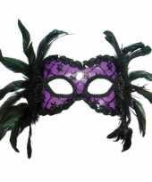 Oogmasker met zwarte veertjes