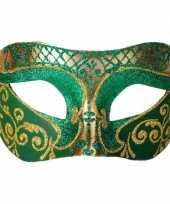 Venetiaans glitter oogmasker groen goud