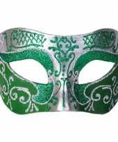 Venetiaans glitter oogmasker groen zilver